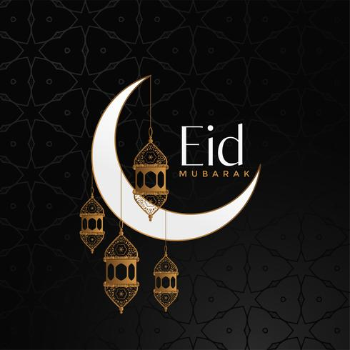 eid mubarak celebration background with moon and hanging lantern