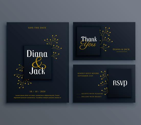 elegant dark wedding card invitation template Download Free Vector