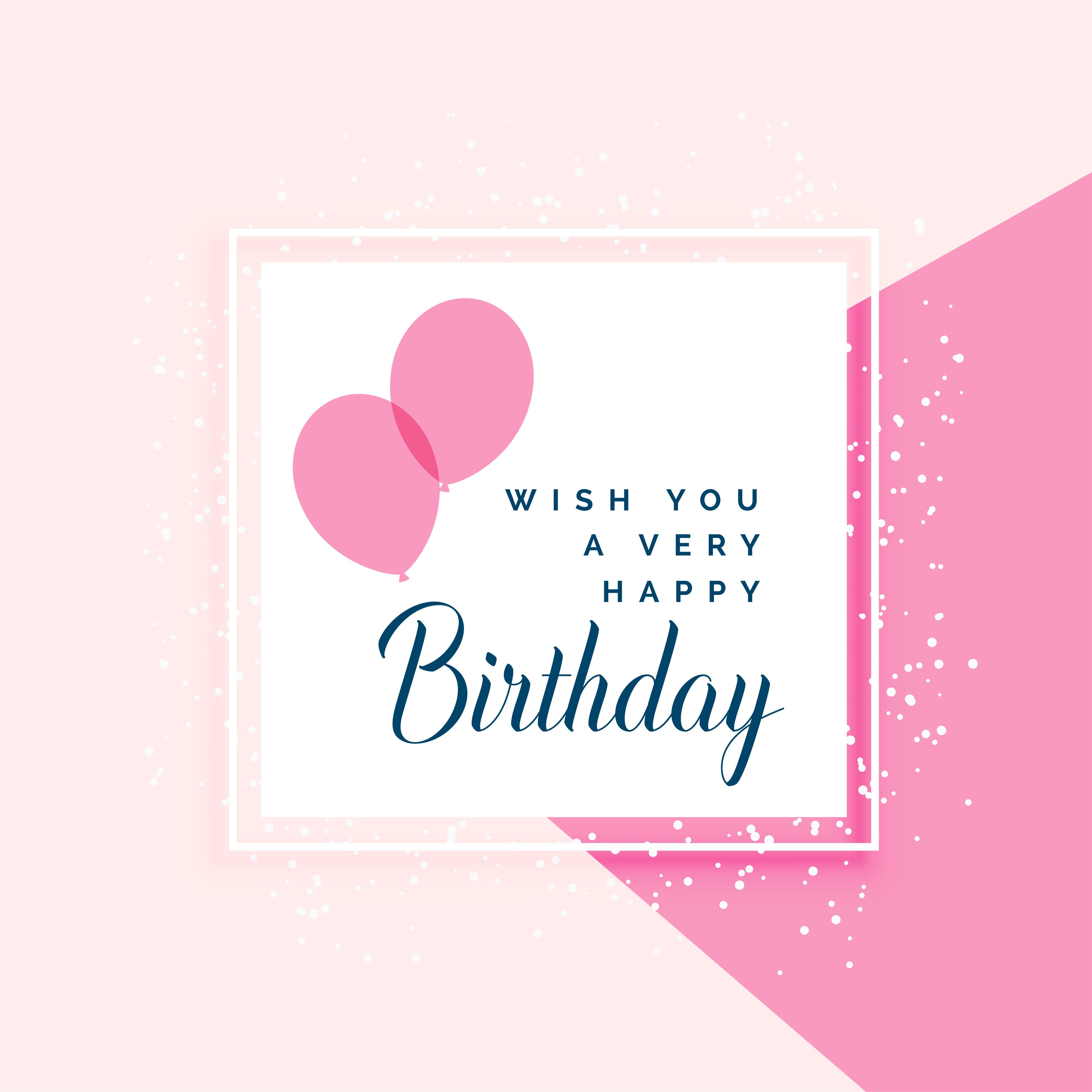 Elegant Pink Happy Birthday Greeting Design Download Free Vector
