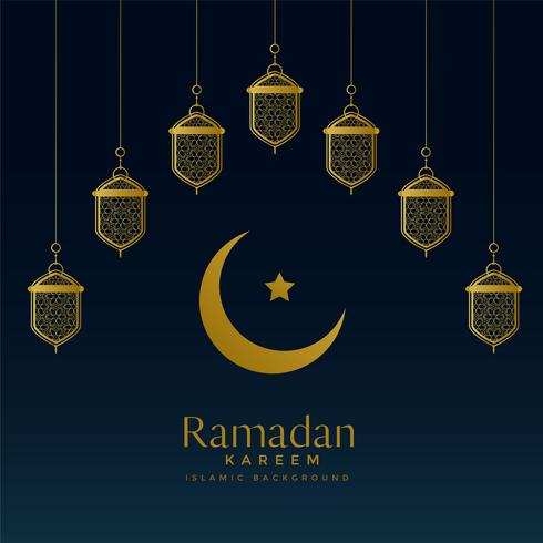 golden moon and hanging lanterns for ramadan kareem background