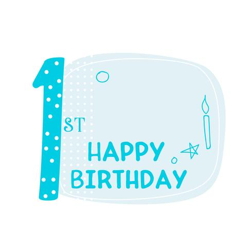 cute first happy birthday card design