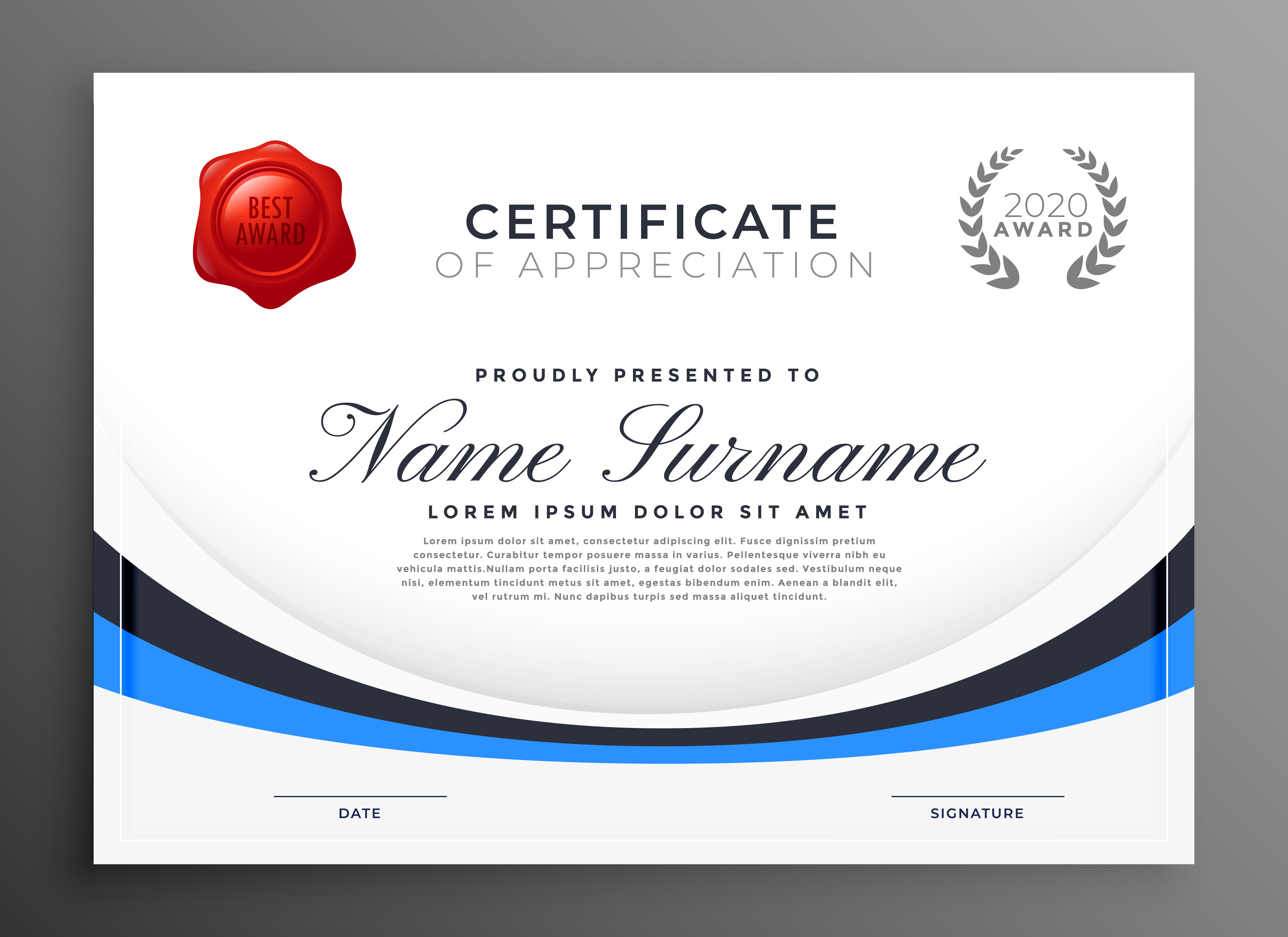 Certificate template design with blue wave download free for Certificate of appearance template