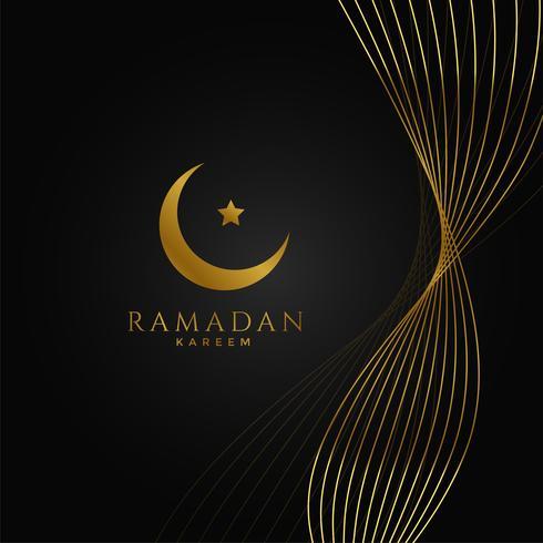 ramadan kareem fond avec des lignes ondulées dorées
