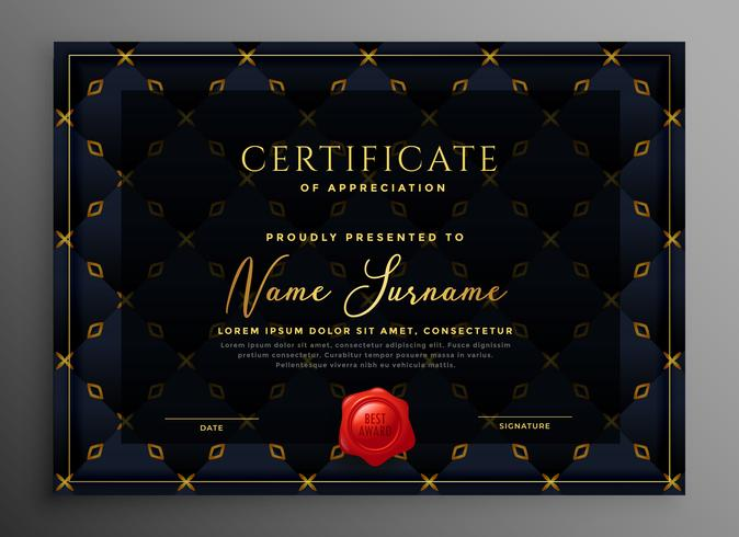 dark luxury certificate template design