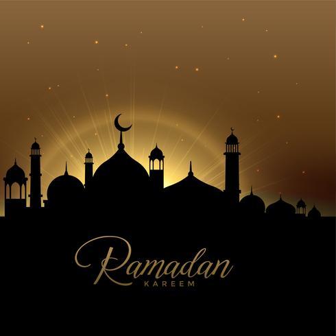 hermosa escena de Ramadán Kareem con brillante mezquita