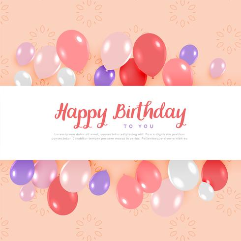 happy birthday card design with balloons in pastel colors