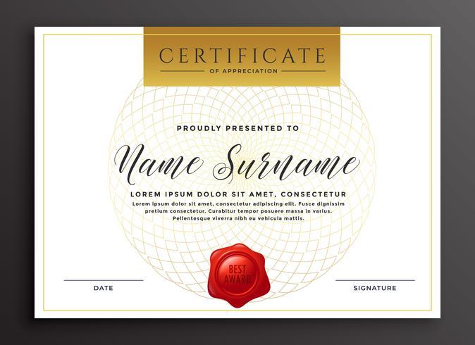 Plantilla de diseño de certificado moderno de lujo elegante