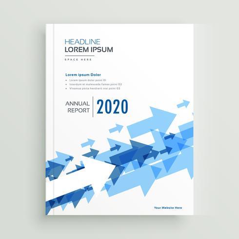 Informe anual de diseño de folleto con flechas azules.