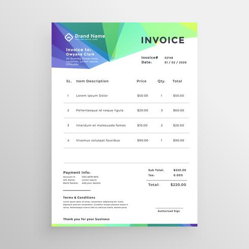 abstract invoice template vector design
