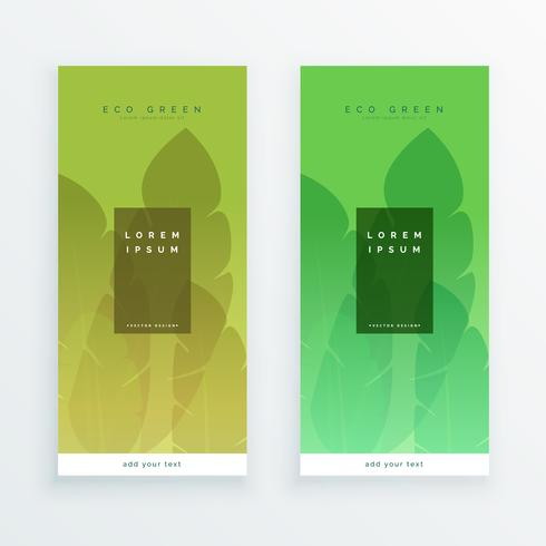 green eco leaves banners design