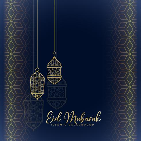 eid mubarak greeting with hanging lanterns