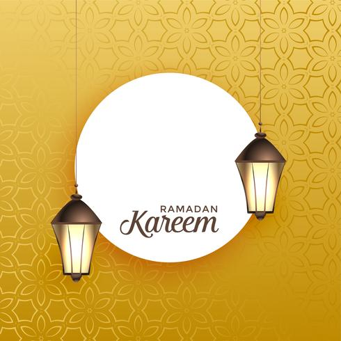 hanging lantern with text space on golden background for ramadan