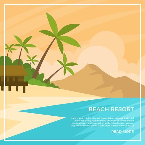 Flat Beach Resort vectorillustratie vector
