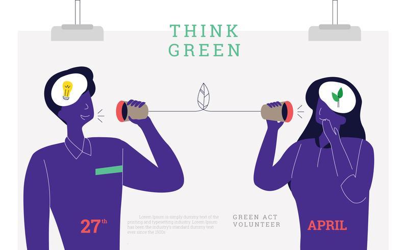 Denk dat groene poster Vector platte mensen gaan groen