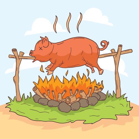 Vetor de assado de porco dos desenhos animados