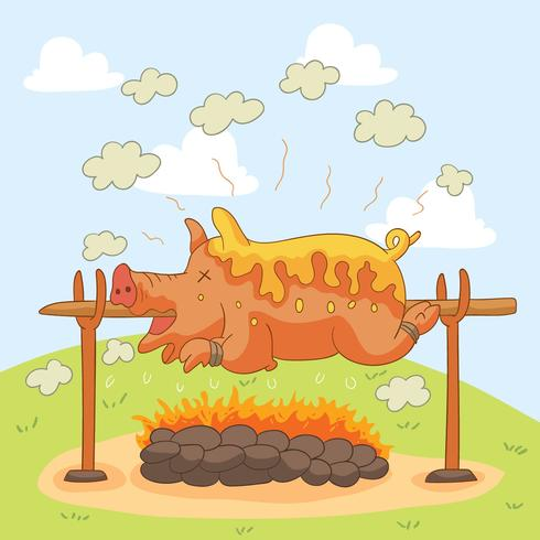Barbeque Pig Roast Vector