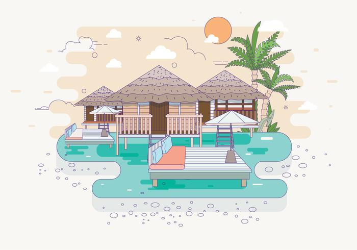 Beach Resort Illustration Vector