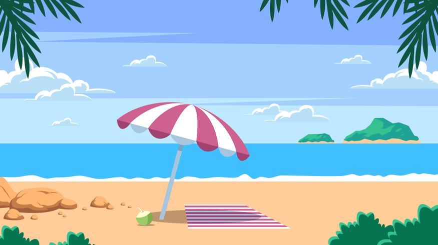 Strand-Erholungsort-Landschaftsvektor