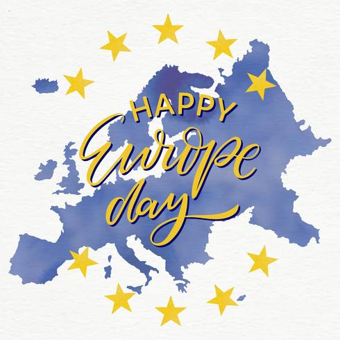 Europe Day with Map Watercolour Background Vector