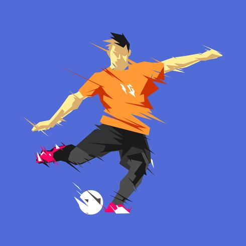 Shooting Abstract Soccer Player Vector