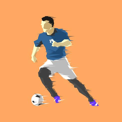 Dribbling Abstrakt Soccer Player Vector