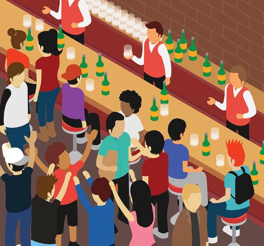 Isometric Crowded Bar Vector Illustration