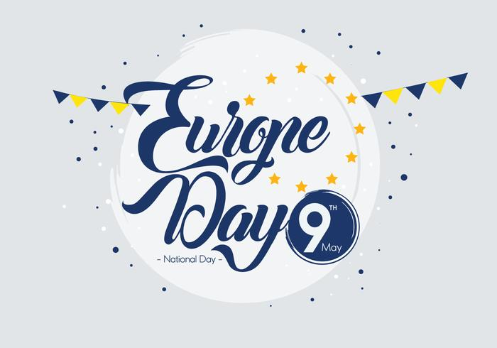 Europe Day Typography Vector