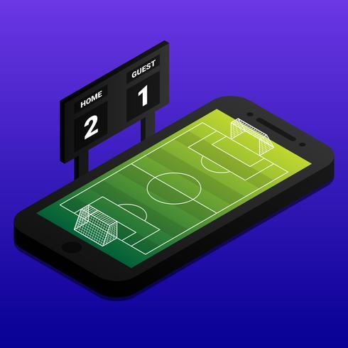 Conceito on-line de futebol isométrica com campo de futebol e placa de indicador no Smartphone