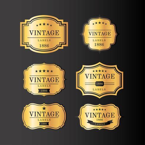 Vetor de rótulos vintage ouro