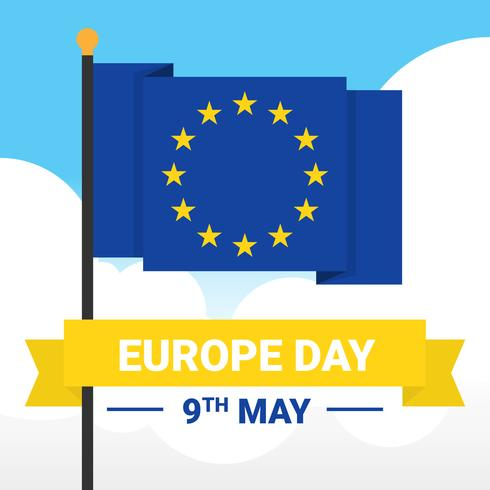 Happy Europe Day Flag Plantilla de vectores