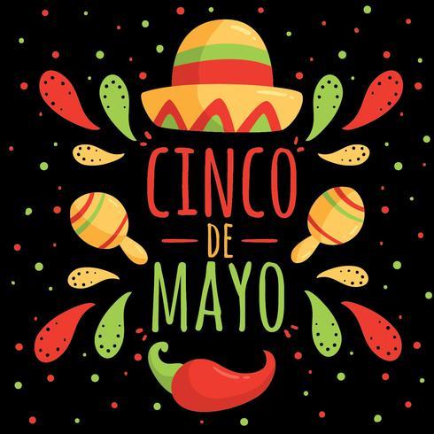 Cinco De Mayo On Black Vector
