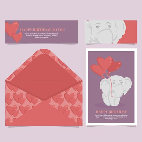 Vektor söt elefant födelsedagskort
