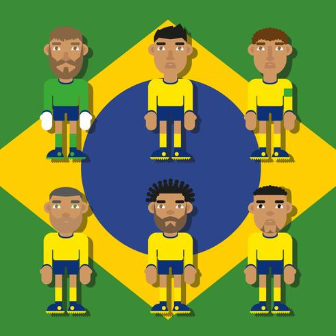 Brazilian Soccer Characters Flat Illustrations Vector