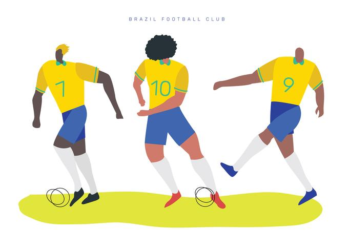 Personnages de football brésiliens Vector Illustration plate