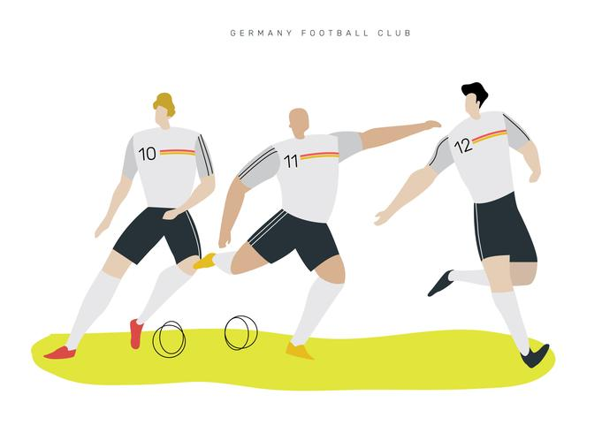 Ilustración de Vector plano de personaje de fútbol alemán