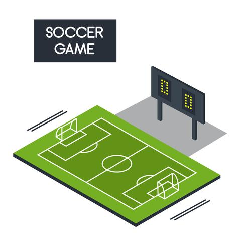 Isometric Soccer Pitch Vector