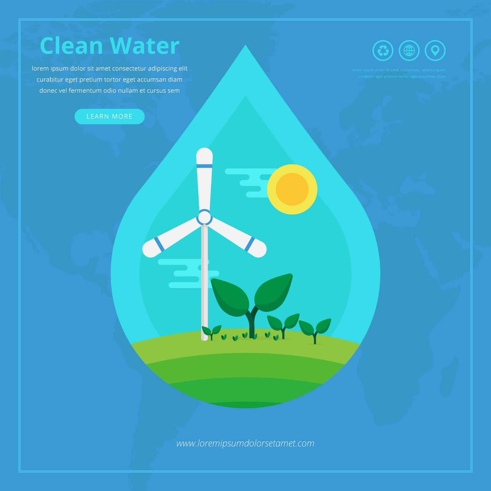Clean Water Advocacy Illustration Infographic Download