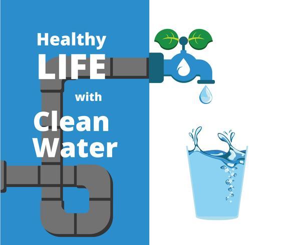 Hälsosam liv med rent vattenvektor