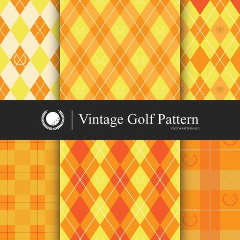 Conjunto de patrón de golf Vintage, color naranja