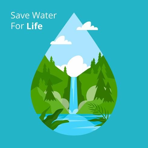 Save Water For Life Vector