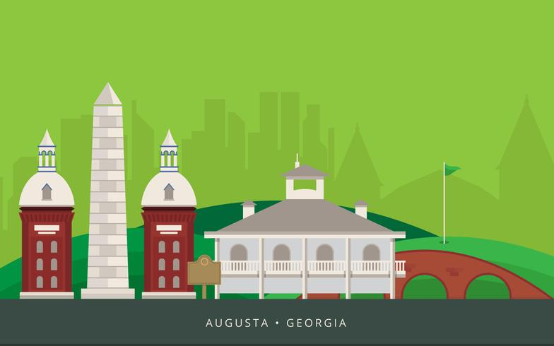 Augusta City Landmark. Augusta Georgia vykort Illustration.