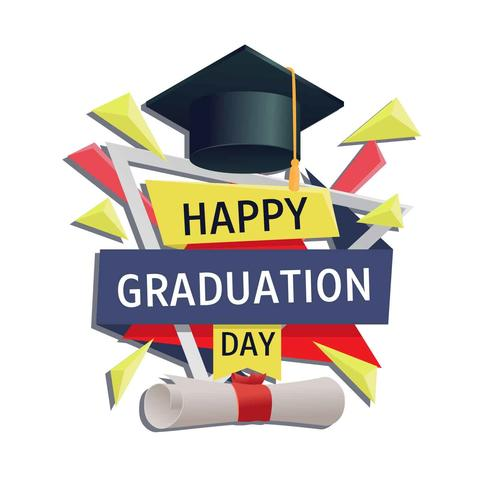 Graduation Card Vector Template