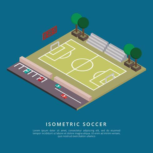 Ilustración isométrica del vector del fútbol
