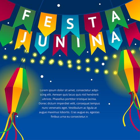 Festa Junina Night Celebrate Vector