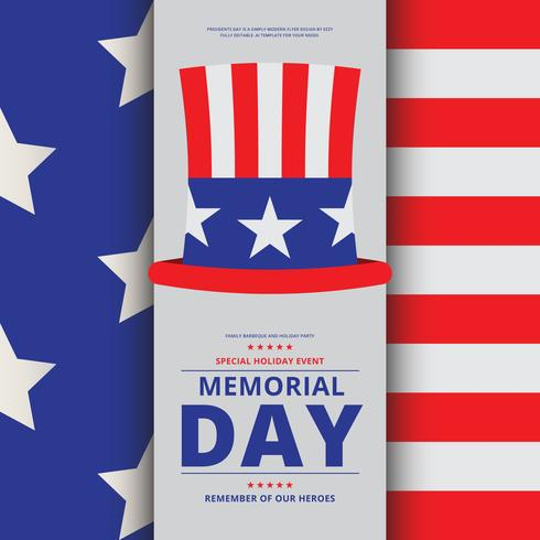memorial day decoration illustration brochure template download
