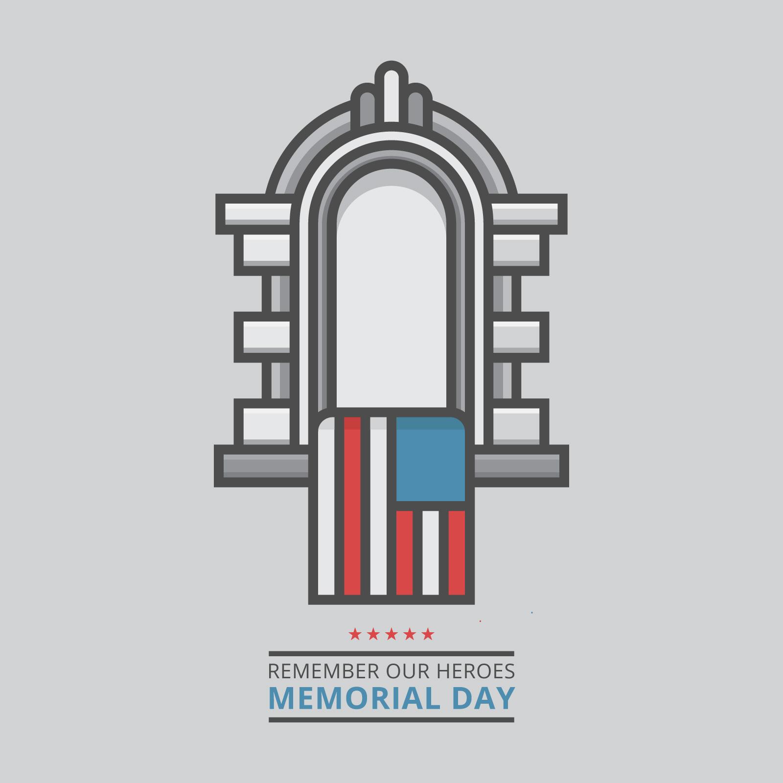 Memorial Day Dekoration Illustration Vorlage in Artline-Stil ...