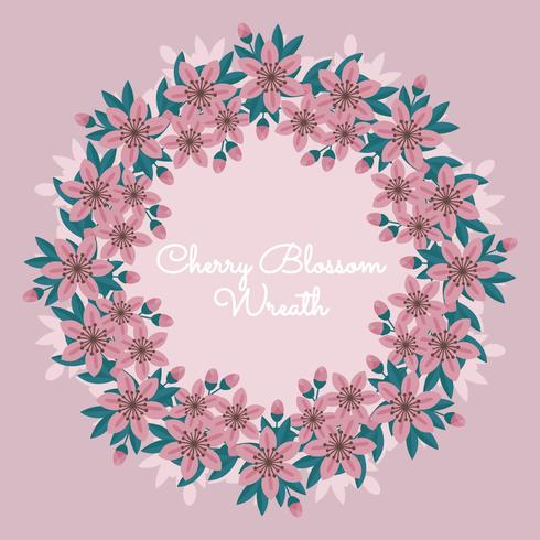 Vector Cherry Blossom Wreath