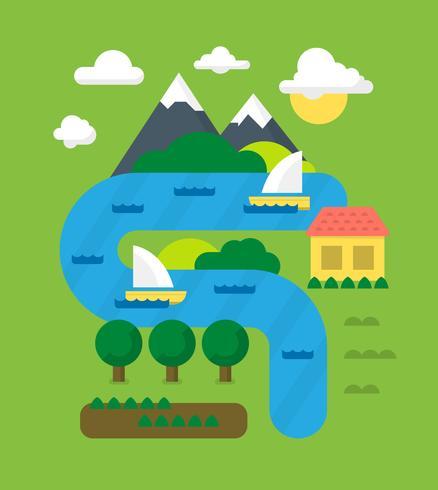platt landskaps illustration vektor