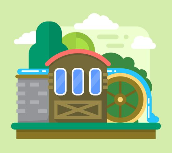 Old watermill vector