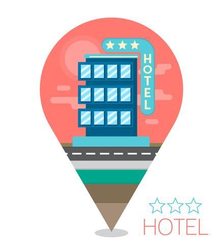 Ilustração plana do hotel